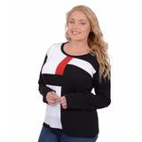 Sweater Portofem Geométrico Combinado - Talles Grandes