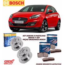 Kit Discos E Pastilhas Fiat Bravo 1.8 16v Dianteiro Traseiro