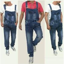 Macacão Vintage Masculino Jeans Alça Suspensório Moda Homem