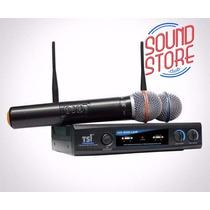 Microfone Tsi Ud-800 S/fio Duplo Mão Uhf+2 Cabos Xlr/xlr 1mt