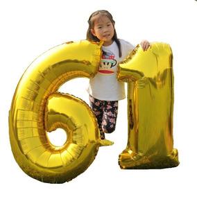 Balão Metalizado Número Gigante 100cm Aniversário Festa Gás
