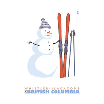 Whistler-blackcomb, Bc, Canada, Snowman With Skis Print, 2