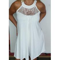 Solero Vestido Modal Encaje T2 Y T3 Negro Y Blanco