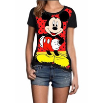 Camisa Blusa Mickey Feminina Personalizada Malha Fria Preta