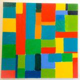Pintura Colorida Mosaico Óleo Sobre Tela