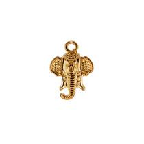 Dije Con Cadena De Cabeza De Elefante En Chapa De Oro