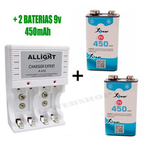Kit Carregador Pilha Aaa Aa 9v + 2 Bateria Recarr Knup 450ma