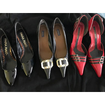 Sapato Scarpin Salto Fino Varias Cores Em Couro
