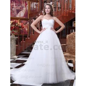 Vestido Novia Corte Princesa Escote Corazon Tul Ivory Nuevo