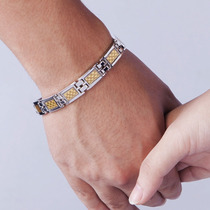 Pulseira Bracelete Titanium Magneticos Fibra De Carbono Ouro