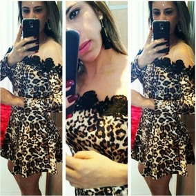 Vestido Leopardo Onça Sexy Festa Casual Manga Longa Tule