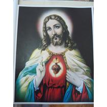 Cromo Para Cuadro Sagrado Corazón De Jesús 28x37