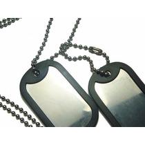 Corrente Militar Placas De Identificação Exercito Aço Inox