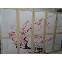 Biombo Chines Estampado Marfim Cerejeiras 4fls Decora Diviso