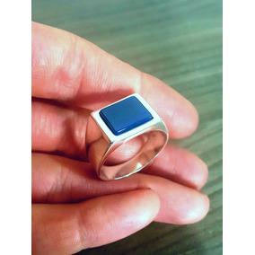 Anel Masculino Comendador Prata 950 - Pedra Ágata Azul