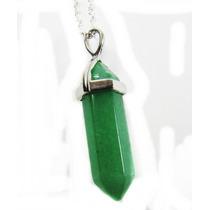 Pingente Pêndulo Jade Verde Banhado A Prata E Colar