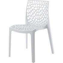 04 Cadeiras Branca Gruvyer Polipropileno Modelo Italiano