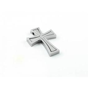 Dije Doble De Acero Inox Diseño Cruz Empalmada Plata