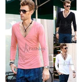 Camiseta Masculina Malha C/ Elastano Blusa Manga Longa