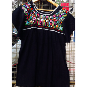Blusa Bordada Mexicana 100% Algodón Negra