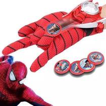 Luva Homem Aranha Lança Disco Teia Brinquedo Lançador Novo