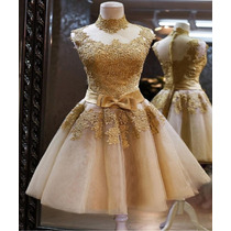 Vestido Noiva Dourado Casamento Princesa Debutante 15 Anos