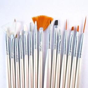 Kit 15 Pincéis P/ Unhas Artísticas Decoradas - Pincel Brush