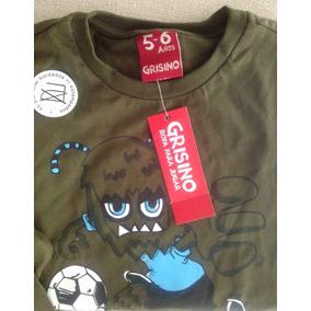 Remera Nene Varón Grisino Fútbol Talle 3 4 Años Manga Larga