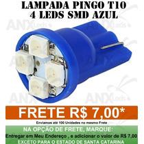 Lâmpada Pingo 4 Leds Azul Farolete Xenon Torpedo T10