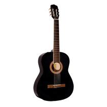 Guitarra Criolla Clásica Rockera Negra + Funda + Puas