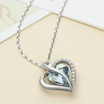 Oferta Collar Fino Largo Encanto Amor Corazon Azul Platinado