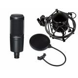 Kit Microfono Audiotechnica At2020 Grabacion Estudio Filtro
