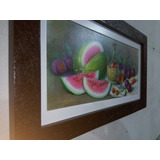 Quadro Decorativo Fruta Melancia Moldura Artesanal S/ Led