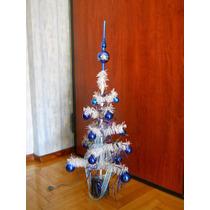 Árbol De Navidad Blanco 80 Cm Decorado Con Adornos Y Luces