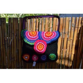 Tejido Al Crochet Cartera Artesanal De Lana Forrada