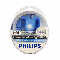 Lampadas Philips H4 Diamond Vision 5000k Super Brancas