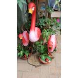 Garca Flamingo Familia 3 Peças