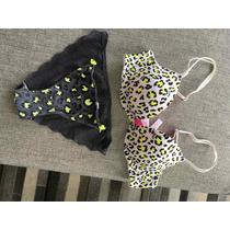 Victoria Secret Pink Bra Leopardo Y Calzon Encaje