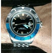 Relógio Italiano Breil Milano Manta Bw0403 Em Aço Com Zafira