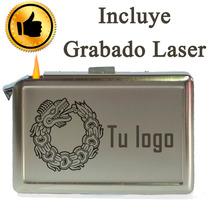 Cigarrera Con Encendedor Lisa Personalizada 16 Cigarros.