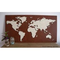 Mapamundi De Corcho De Color 105x55cm En Bastidor