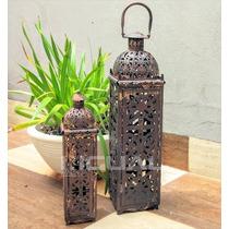 Lanterna Decorativa Envelhecida Marroquina Conjunto 2 Peças