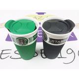Vaso Térmico Taza Jarro De Porcelana Con Tapa Café Starbucks