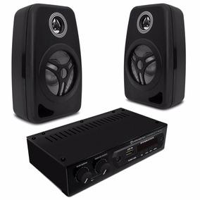 Caixas Som Ambiente 55w Rms Preta + Amplificador