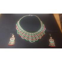 Hermoso Collar Y Aretes De Shakira, Colores Mexicanos