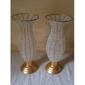 Kit 2 Vasos De 45cm Decorados Pedrarias De Cristal Acrilico