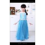 Fantasia Vestido Elsa Frozen Luxo Com Cauda Longa Promoção