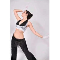 Conjunto Encaje Top Y Guantes Jazz Belly Dance