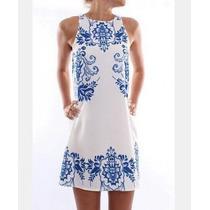 Espectacular Vestido Estampado Algodón/polyester (ref 1077)
