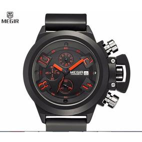 Reloj Negro Deportivo Megir Cronometro Fechador Metalico